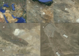 Fig. 1 Google Earth satellite imagery indicates (a) Iran; (b) Central Iran with the huge Daryacheh-ye Namak (the triangular white spot) and the smaller circular Daryacheh-ye Howz-e Soltan in the center of the image; (c) Daryacheh-ye Howz-e Soltan embedded in mountain ridges at the outskirts of Dasht-e Kavir, Iran's Great Salt Desert; (d) the suspected new nuclear site (the bar corresponds to 10 km); (e) the site in 2005 (the bar corresponds to 100 m).
