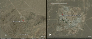 Fig. 3 Differences in sizes of the suspected new nuclear site near Qom (a) and the uranium enrichment facility near Natanz (b). The bar corresponds to 1 km.