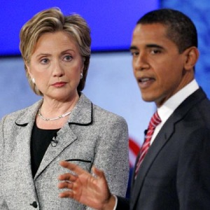 U.S. Senator Hillary Clinton and U.S. Senator Barack Obama  at the CNN/Nevada Democratic Party debate in Las Vegas