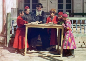 Jewish children with teacher_Samarkand 1910