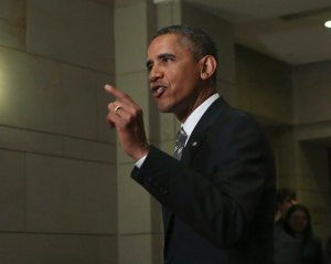 US President Barack Obama speaks to media after meeting with House Democrats in Washington