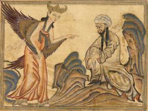 Muhammad receives the first revelation. In Rashid al-Din's Jami al-Tawarikh (714/1314)
