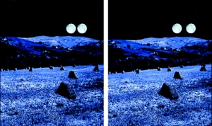 Stereogram of a landscape modified to include identical moons in each half-field. By fusion an impression is created that the left moon is closer and smaller than the right moon (Kaufman and Kaufman 2000)