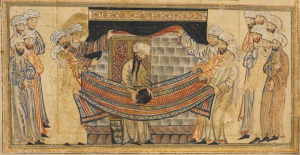 Muhammad lifts the black stone into the right position at the Ka'aba. In Rashid al-Din's Jami al-Tawarikh (714/1314)